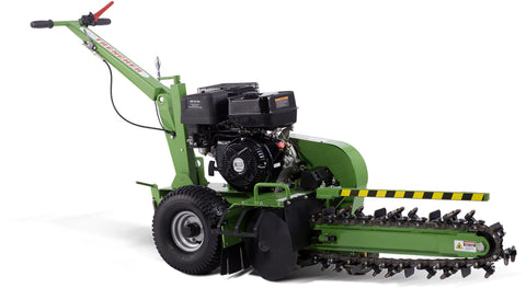 "15HP Gas Powered Walk Behind Trencher 24"" Depth Electric Start GREEN"