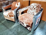 Rare Full Cowhide Fur Leather Vintage Aluminum Aviator Retro Chair Airplane Seat