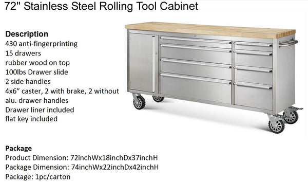 72 Quot Stainless Steel Rolling Tool Cabinet W Wood Top Box