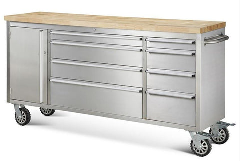 "72"" Stainless Steel Rolling Tool Cabinet w/ Wood Top Box"