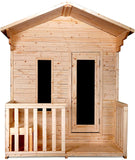 Outdoor Canadian Pine Wet Dry Traditional Swedish Sauna Room w/ Porch Roof Upgrade