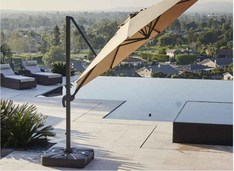 10' Foot Cantilever Offset Patio Umbrella Burgundy or Beige + Solar LED Light Upgrade