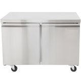 "TUC48F 48"" 2 Door Commercial Undercounter Reach-In Freezer - 11.9 Cu. Ft."