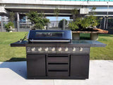 3 Piece Island BBQ Outdoor Grill Black Stainless Steel with Refrigerator and Sink