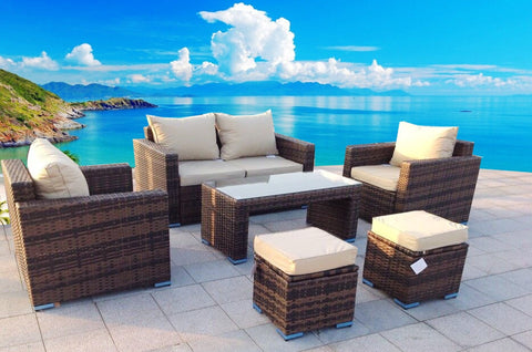 Ensenada Sunbrella 6 Piece Outdoor Wicker Patio Furniture Sectional Sofa Set