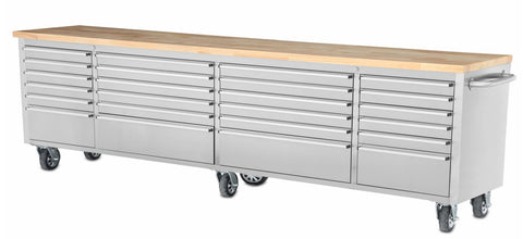 "96"" Stainless Steel Rolling Tool Cabinet w/ Wood Top Box"
