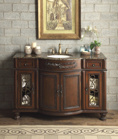 "52"" Baltic Brown Granite Top Vanity Bathroom Lavatory Cabinet Single Sink"