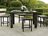 5 Piece Bar Height Table Wicker Rattan Outdoor Conversation Set with 4 Stools