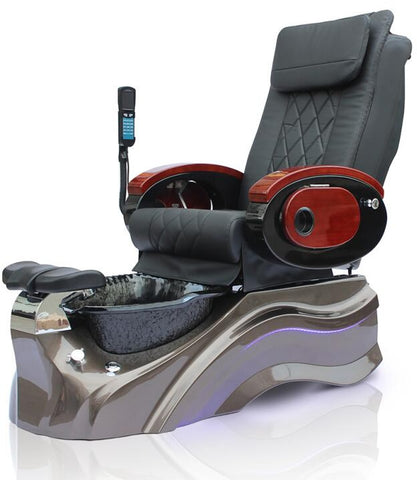 Salon Shiatsu Massage Pedicure Foot Spa Chair w/ Pipeless Tub Basin Tub (BLACK CHAIR)