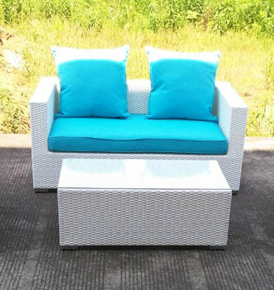 2 Piece Caribbean White Wicker Outdoor PE Rattan Wicker Patio Furniture Set