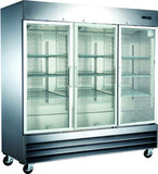 3 Door Glass Front Commercial Refrigerator Reach-In Merchandiser CFD-3RR-G