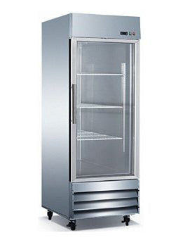"29"" Glass Door Refrigerator 1 Single Door CFD-1RR-G Stainless Trim LED Lighting"