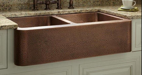 "33"" Double-Bowl Hammered Copper Farmhouse Kitchen Sink – San Diego ..."