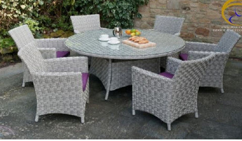 7 Piece Round Glass Top Grey Wicker PE Rattan Outdoor Dining Set 6 Chairs
