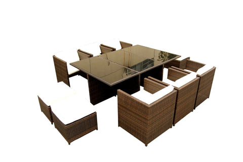 13 Piece Outdoor Glass Wicker Dining Table Furniture Set