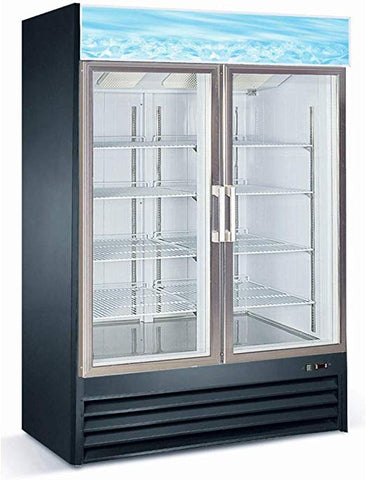 Glass Double 2 Door Reach In Freezer Ice Restaurant Merchandiser D768BM2F