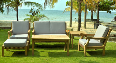6 piece teak indonesian outdoor patio furniture chair table set