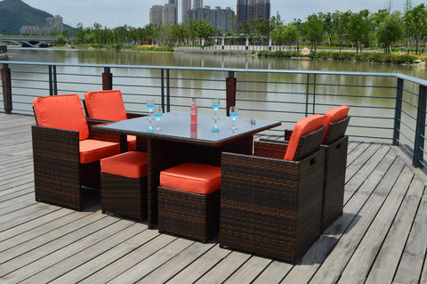 ... Sunbrella 9 Piece Outdoor Wicker Rattan Patio Dining Table Set ...