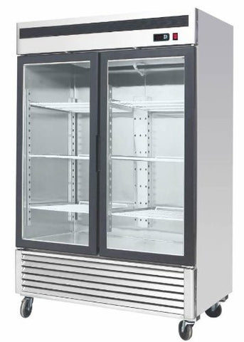 Stainless Steel 55-Inch Glass Two Door Merchandiser Upright Refrigerator MCF-8707