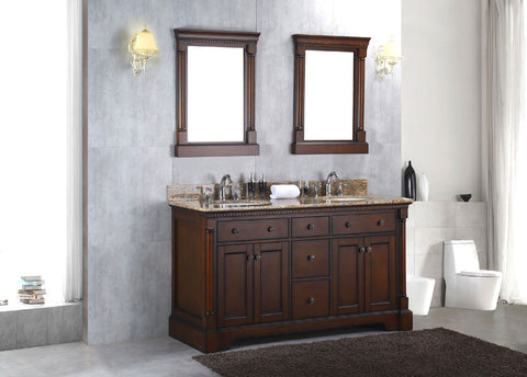 "Solid Wood 60"" Double Bathroom Vanity Sink Cabinet w/ Granite Stone Top"