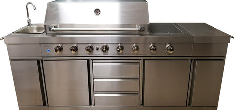 Ordinaire ... 3 In 1 Stainless Steel Outdoor BBQ Kitchen Island Grill Propane LPG W/  SINK ...