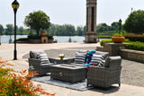 Modern Grey Wicker 5 Piece Outdoor Patio Furniture Set (2 seater sofa) with Gas Fire Pit