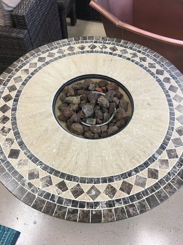 Marble Mosaic Outdoor Patio Dining Firepit Fire Pit Table