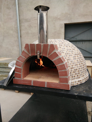 "Large 41"" Handmade Brick Pizza Wood Burning Oven Outdoor w/ Mosaic Tile"