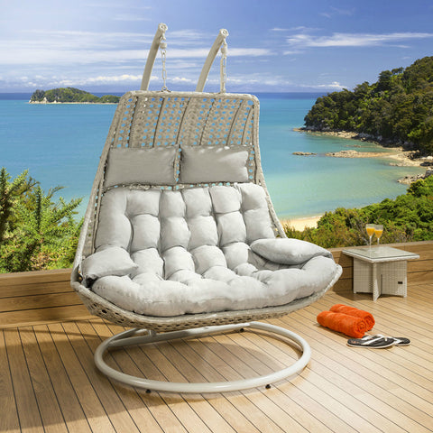2 Person White Backyard Egg Swing Chair w/ Cushions