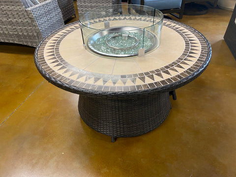 "48"" Round Aluminum / Rattan Wicker Fire Pit Coffee Table w/ Glass Heat Shield + Glass Beads"