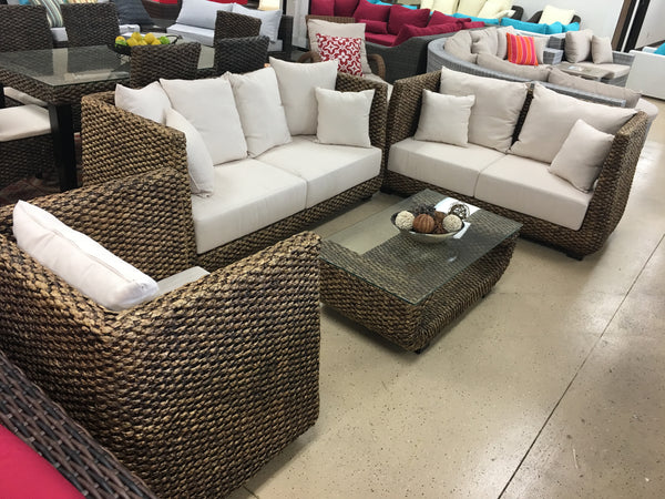 Hyacinth Real Wicker 4 Piece Indoor Furniture Set W Sofa