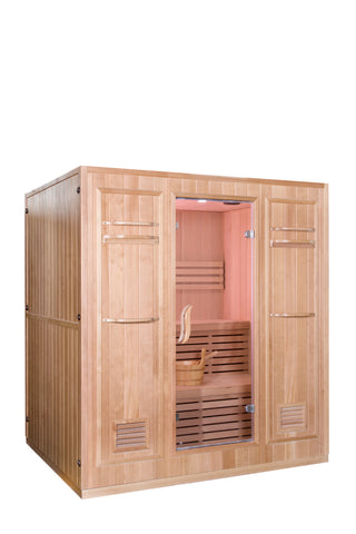 Large 4+ Person Stadium Seating Canadian Hemlock Wet Dry Traditional Swedish Steam Sauna Spa