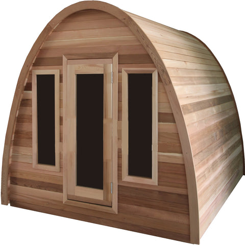 Canadian Pine Wood Dome Top Wet Dry Swedish Outdoor Steam Sauna SPA w/ Shingled Roof
