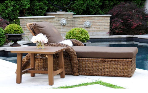 Ranchero Wicker Lounger Rattan Patio Set + Side Table