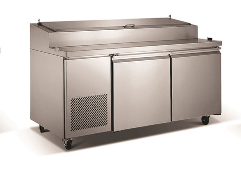 "71"" 2 Door Commercial Refrigerated Pizza Prep Station Table, 16.5 Cubic Feet, for Restaurants"