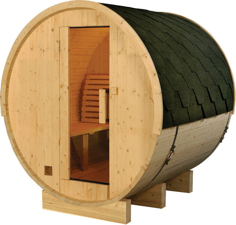 6' Foot Finland Pine Wood Barrel Wet Dry Sauna Spa Four 4 Person 6KW Heater