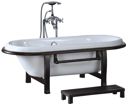 Modern Style Soaking Bathtub with Floor Faucet