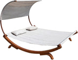 Double Outdoor Wood Hammock Daybed Lounger w/ Shade Cover