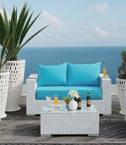 ... 2 Piece Caribbean White Wicker Outdoor PE Rattan Wicker Patio Furniture  Set ...
