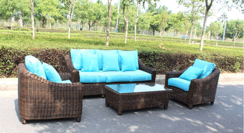 Catalina Full Round Weave 4 Piece Wicker Outdoor Patio Furniture ...