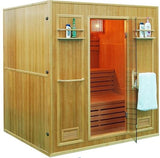 Large 4+ Person Stadium Seating Canadian Hemlock Wet Dry Traditional Swedish Steam Sauna Spa - SYM04SS