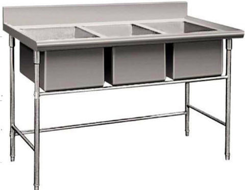 Open Box 3 Compartment Commercial Stainless Steel Triple Sink Wash Basin Table