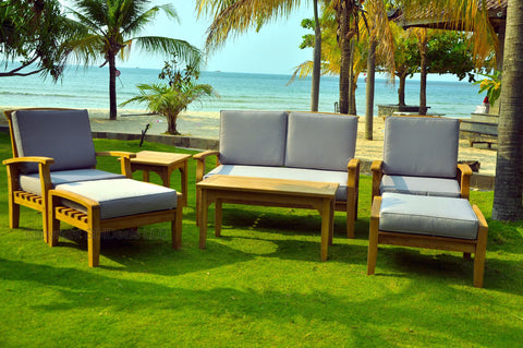 7 Piece Curved Back Teak Indonesian Outdoor Patio Chair Set