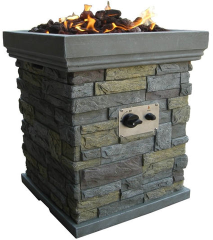 Stacked Stone Propane Modern Outdoor Fire Pit