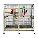 XL Stainless Steel Double Macaw Parrot Cockatoo Bird Breeder Pet Cage w/ Divider
