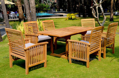 Indonesian Teak Table Outdoor Patio Dining Set w 6 Chairs San