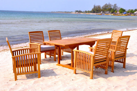 Indonesian Teak Table Outdoor Patio Dining Set W/ 6 Chairs
