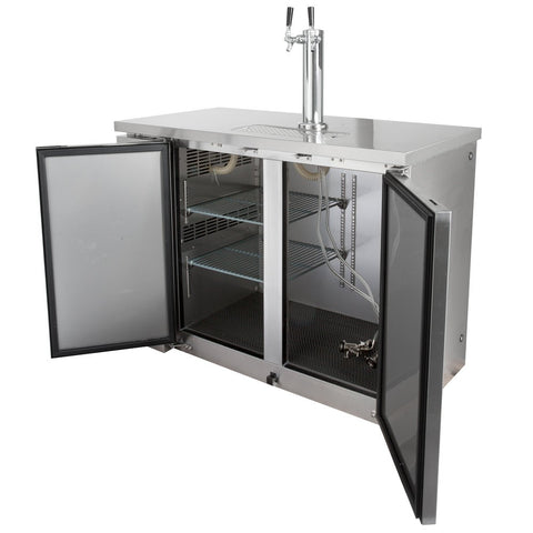 "48"" Kegerator Beer Dispenser Stainless Steel Refrigerator Cooler with Taps UDD-24-48-SS"