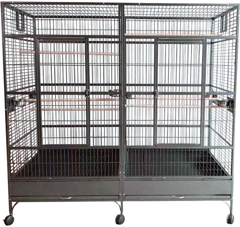 Large Double Macaw Parrot Cockatoo Bird Breeder Pet Cage w/ Divider - Black Vein Finish