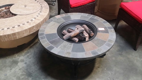Lot of 10 Round Stone Inlay Wood Fire Pits